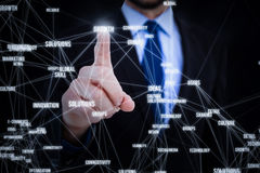 Composite image of businessman pointing his finger at camera Stock Images