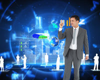Composite image of businessman pointing up Stock Photography