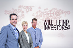 Composite image of businessman in a row with his business team Royalty Free Stock Image