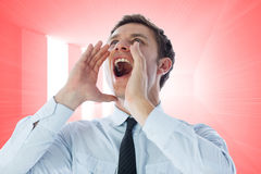 Composite image of businessman shouting Royalty Free Stock Images