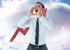 Composite image of businessman shouting Royalty Free Stock Photos