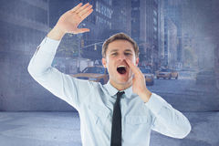 Composite image of businessman shouting and waving. Businessman shouting and waving against urban projection on wall Royalty Free Stock Photo