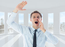 Composite image of businessman shouting and waving. Businessman shouting and waving against bright white room with windows Royalty Free Stock Photos