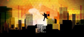 Composite image of businessman stepping Stock Photos