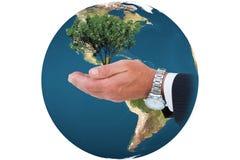Composite image of businessman in suit offering handshake Stock Photos