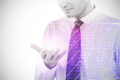 Composite image of businessman using futuristic mobile phone 3d. Businessman using futuristic mobile phone against compass pointing to success 3d Royalty Free Stock Photography