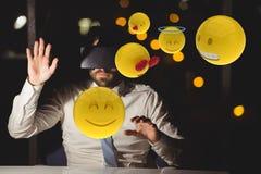 Composite image on businessman using virtual reality. Digital composite of Composite image on businessman using virtual reality Royalty Free Stock Photos