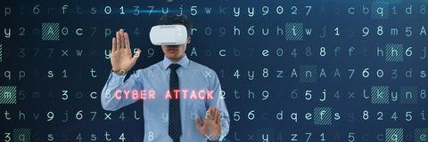 Composite image of businessman wearing vr glasses while using invisible interface. Businessman wearing vr glasses while using invisible interface against virus Stock Image