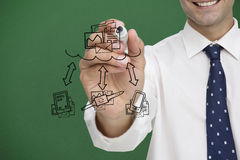 Composite image of businessman writing doodle Stock Photography
