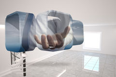 Composite image of businessmans hand on abstract screen Stock Photo