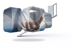 Composite image of businessmans hand on abstract screen Stock Image