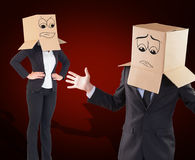 Composite image of businesswoman with box over head Royalty Free Stock Photos