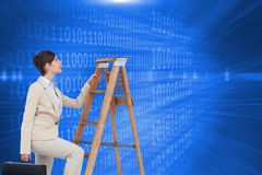 Composite image of businesswoman climbing career ladder Royalty Free Stock Photos