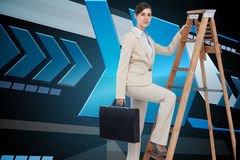 Composite image of businesswoman climbing career ladder with briefcase Stock Images