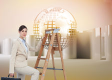 Composite image of businesswoman climbing career ladder and looking at camera Stock Images