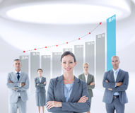 Composite image of businesswoman colleagues arm crossed Stock Images