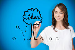 Composite image of businesswoman drawing idea tree Stock Photos