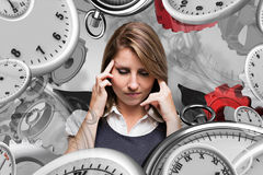 Composite image of businesswoman with headache Royalty Free Stock Photography