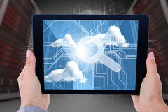 Composite image of businesswoman holding digital tablet Royalty Free Stock Photography