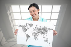Composite image of businesswoman holding a signboard hired Royalty Free Stock Image