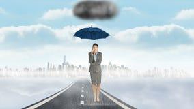 Composite image of businesswoman holding an umbrella vector illustration