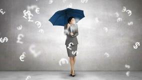 Composite image of businesswoman holding an umbrella stock illustration