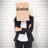 Composite image of businesswoman lifting box off head Royalty Free Stock Photos