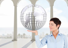 Composite image of businesswoman with an open hand Stock Photography