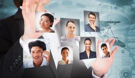 Composite image of businesswoman presenting Stock Photo