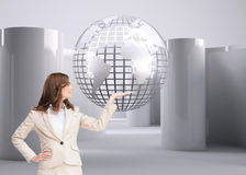 Composite image of businesswoman raising her hand Royalty Free Stock Photo