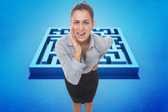 Composite image of businesswoman shouting Royalty Free Stock Photos