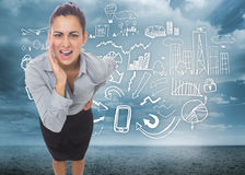Composite image of businesswoman shouting Royalty Free Stock Photography