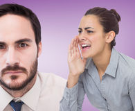 Composite image of businesswoman shouting Stock Photos