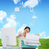 Composite image of businesswoman shouting with stack of folders at desk Royalty Free Stock Photography