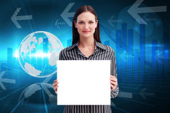 Composite image of businesswoman showing card Stock Photography