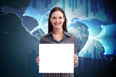 Composite image of businesswoman showing card Stock Photos