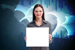 Composite image of businesswoman showing card Royalty Free Stock Photography
