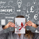 Composite image of businesswoman showing a card. Businesswoman showing a card against red 3dman requesting connection with surrounding white 3d-men Royalty Free Stock Image