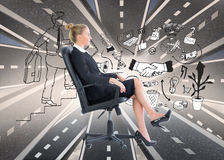 Composite image of businesswoman sitting on swivel chair in black suit Royalty Free Stock Images