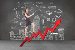 Composite image of businesswoman stepping up. Businesswoman stepping up against grey room Stock Photos