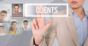 Composite image of businesswoman touching Stock Images