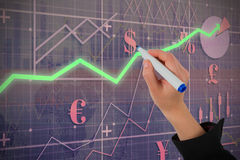 Composite image of businesswomans hand writing with marker Royalty Free Stock Photos