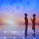 Composite image of businesswomen talking Royalty Free Stock Photos