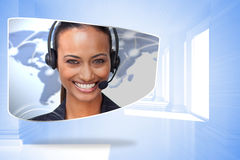 Composite image of call centre agent on abstract screen Royalty Free Stock Photography