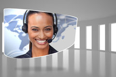 Composite image of call centre agent on abstract screen Stock Photos