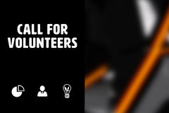 Composite image of call for volunteers. Call for volunteers against black angular design Stock Photo