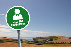 Composite image of call for volunteers. Call for volunteers against fields backgrounds Royalty Free Stock Images