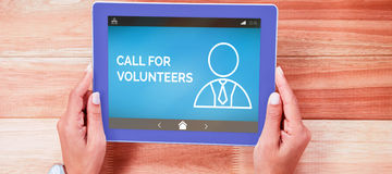 Composite image of call for volunteers text with human icon on blue screen. Call For Volunteers text with human icon on blue screen against overhead of feminine stock photos