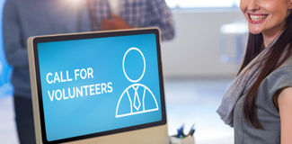 Composite image of call for volunteers text with human icon on blue screen. Call For Volunteers text with human icon on blue screen against portrait of cheerful royalty free stock images