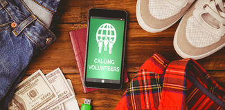 Composite image of calling volunteers text with icons on green screen. Calling Volunteers text with icons on green screen against differents objects using for Royalty Free Stock Photo